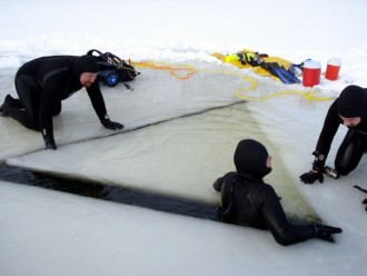 Mack, Jim K. and Darrin Closing the Ice Hole