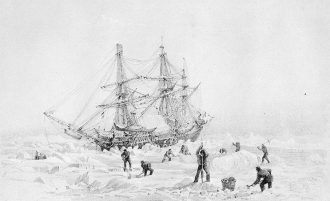 HMS Terror thrown up by the ice. Source: https://commons.wikimedia.org/wiki/File:HMSTerrorThrownUpByIce.jpg